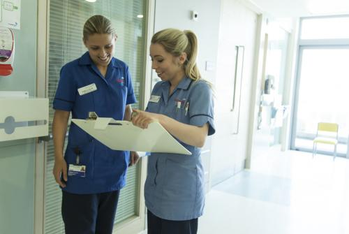 Nurses Danielle and Hannah discussing patient care on Bumblebee Ward