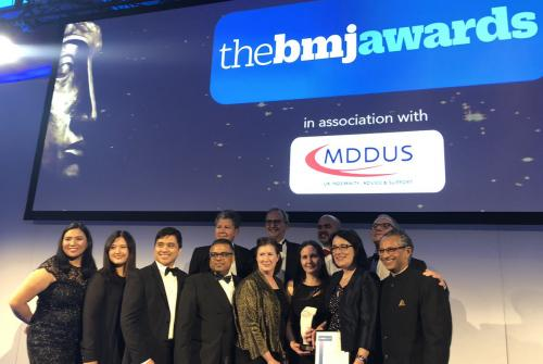 Team winning at the BMJ awards